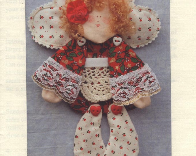 Craft Sewing Pattern Free Us Ship  Hannily Patterns Wallflower Angel Scrap Doll Uncut 1993 hp106 Christmas Door Knob Hang Peg