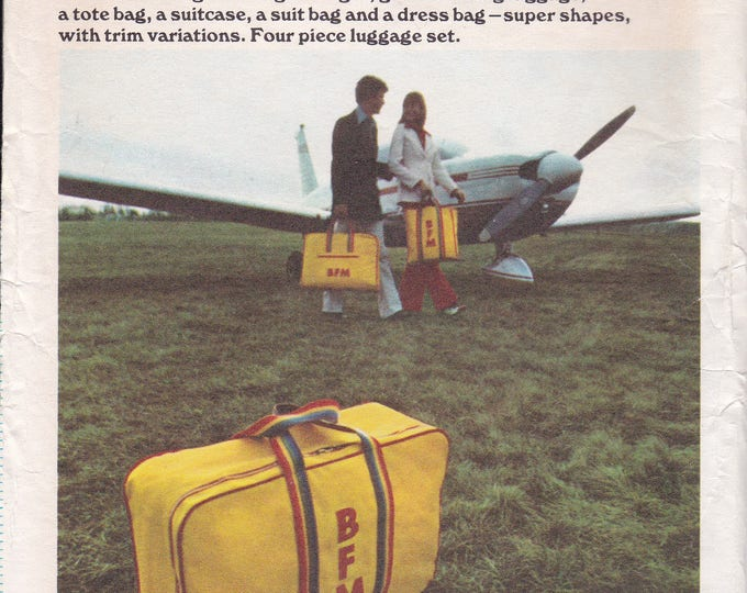 FREE US SHIP Butterick 3784 Crafts Sewing Pattern Luggage to Sew Vintage Retro 1970s 70s Tote Suitcase Garment 4 pc set Factory Folded