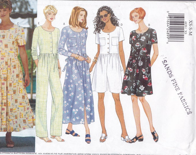 FREE US SHIP Butterick 4820 Sewing Pattern Loose Fitting Dress Jumpsuit Uncut Size 6 8 10 12 14 Bust 30.5 31.5 32.5 34 36 Factory Folded