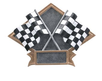 CLOSEOUT - Checkered Flags Award - Drag Racing Trophy- Street Racing - Stock Car Racing -  Racing Trophy