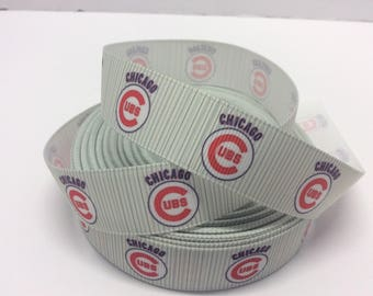 Cubs ribbons, Chicago ribbons, Chicago cub ribbons, Baseball ribbons, sport ribbons, 7/8 inch Grosgrain ribbon