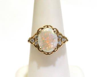 Vintage Opal Diamond Ring 14kt yellow gold