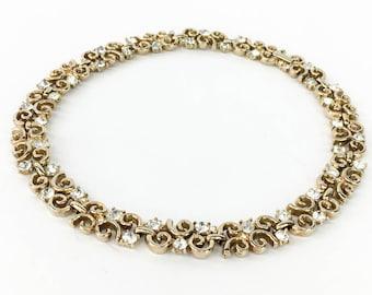 50s Trifari Gold Rhinestone Choker Necklace