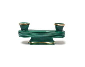 Candle holder in green opaline, chandelier green glass of milk, candelabra, table decoration, gilding, vintage Français