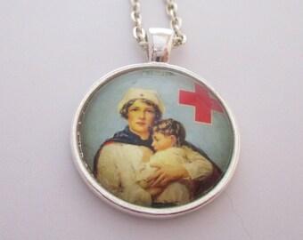 Vintage Nurse with Baby Photo Pendant, Pediatric Nurse Necklace, Nurse Jewelry, Gift for Nurse, Nursing School Graduation
