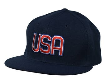 United States of America Hat by LET'S BE IRIE - Navy Blue Snapback