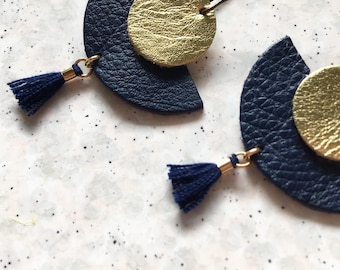 Blue and gold leather half circle earrings