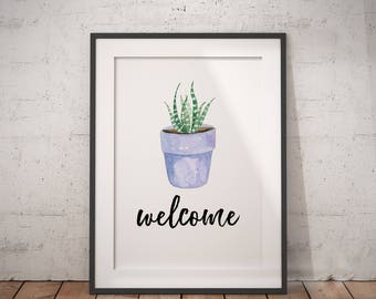 Welcome Print | Eucalyptus, Housewarming Gift, Home Sign, Welcome Plant Sign, Welcome Door Decal, Printable Poster, Home Decor, Wall Decor