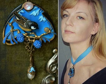 Polymer clay jewelry, Lalique jewelry, Sapin style, Art Nouveau jewelry, Chickadee necklace, blue necklace, bird necklace, gift for her