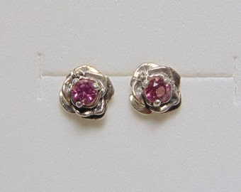 pink tourmaline stud earrings rose earrings 3 prong setting solid sterling silver .925 free shipping fast gift ideas flower studs push back