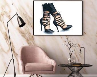 Heels illustration print - fashion art print - shoe illustration - gift for her - Strappy heels - fashion wall art - fashion illustration