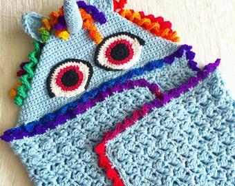Rainbow unicorn hooded crochet blanket for girls kid size unicorn blanket hood