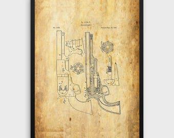 Vintage Colt Pistol Patent Print | 1850 Colt Design, Colt Pistol, Patent Art, Gun Prints, Pistol Prints, Single Print, INSTANT DOWNLOAD