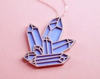 Laser Cut Pastel Purple Quartz Cluster Necklace / Wooden Hand Painted Lavender Geometric Crystal Pendant / 14K Rose Gold Filled Chain