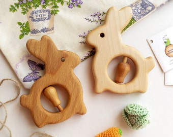 Wood baby Teether toy Organic Wooden Rattle Toy Bunny Baby teething toys