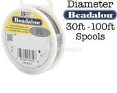 "BRIGHT (30ft - 100ft) Beadalon 19 Strand BRIGHT .010"" .012"" .015"" .018"" .020"" .024"" Stainless Steel Flex Bead Stringing Wire"