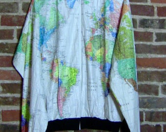Vintage world map etsy world map windbreaker jacket gumiabroncs Choice Image