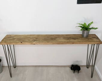 lps industrial reclaimed scaffold board entryway table sideboard bar table with vintage hairpin legs