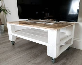 Reclaimed Timber TV Stand/ Console Table TELE-ALUS in Farmhouse Style