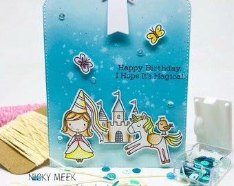 Handmade Birthday Card - Princess and Castle - Once Upon A Time