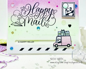 Handmade Slider Card - A Happy Hello - Interactive Card