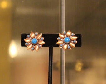 Vintage Brass and Blue Floral Flower Clip On Earrings