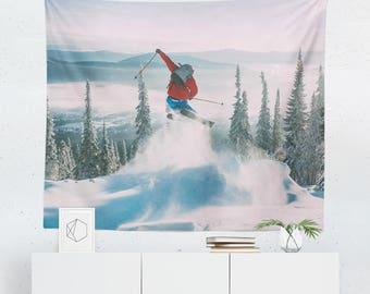 Skiing Tapestry   Snow Tapestry   Skiing Wall Decor   Snow Wall Decor   Winter Tapestry   Mountain Tapestry