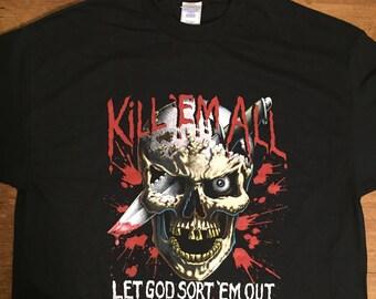 Vintage KILL 'EM ALL Let God Sort 'Em Out T-shirt Military Heavy Metal 1980s Stock Size XLarge