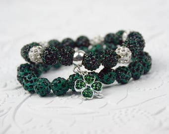 St Patrick's Day Bracelet Set with Green Rhinestone Shamrock Charm Green Rhinestone Disco Beads Green Jewelry St Patrick's Day Jewelry