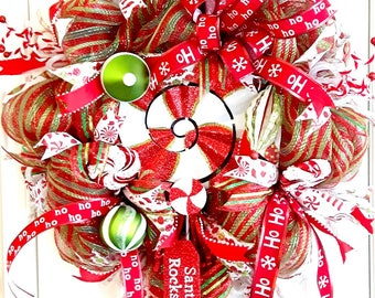 Christmas Wreath, Front Door Christmas Wreath, Christmas Decor, Deco Mesh Wreath, Wreaths for Christmas