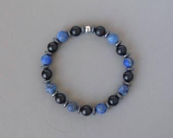 Mens Beaded Bracelet, Blue Lapis Lazuli Bracelet, Black Onyx, Boho Bohemian Rustic, Elastic Bracelet, Boyfriend Gift, Handmade Jewelry