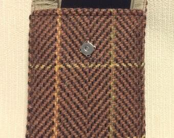 Welsh tweed phone case, cell case in brown & black herringbone