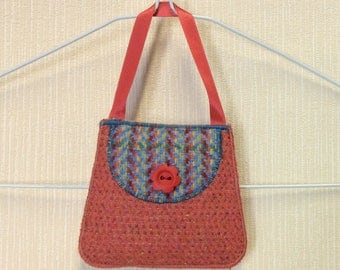 Welsh tweed lavender bag, lavender sachet in salmon pink & rainbow blue with salmon pink ribbon handle