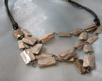 """Marked """"Eben"""" 3 Black zleather Strands with Silver Tone Rectangle Necklace"""