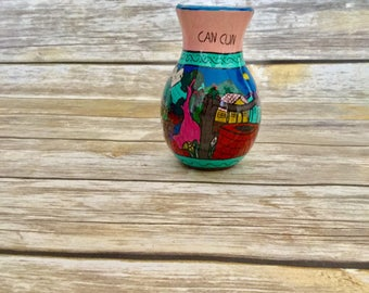 Can Cun Hand Painted Vase//  Hand Made Pottery // Decorative Vase