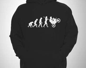 Motocross Hooded Sweatshirt Evolution of Man MX Wheelie Hoodie
