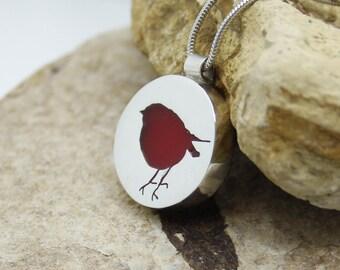 Silver Robin Necklace, Red Robin Pendant, Robin Necklace, British Bird Jewellery, Robin Jewellery, Red Robin, Silver Bird Pendant Necklace.