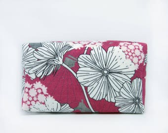 Red Floral Print Make Up Bag, Geometric Flower Cotton Boxy Makeup Pouch - Toiletry Case -  Cosmetic Storage