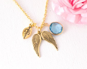 Gold personalized angel wing necklace, angel wing jewellery, grievance jewellery, memory wing necklace, Miscarriage Necklace,Loss Necklace