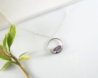 Open Circle Necklace • Infinity Necklace • Raw Crystal Necklace • Raw Stone Necklace • Gift for Bridesmaid • Layering Necklace • Mom