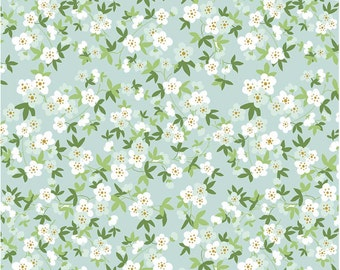 Safari Floral Mint Wih Sparkle Safari Party by By Melissa Mortenson Riley Blake Fabrics, Floral Flowers With Leaves