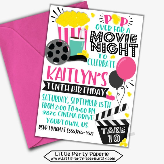 movie night birthday invitation for girls movie night invite