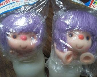 "2 MITZY DOLL HEADS,3.5"",Yarn hair & hands,Westrim 9601, Vintage,Original packaging,doll making supply"