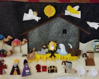Felt Nativity Advent Calendar - Handmade - Christmas Countdown