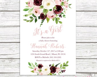It's a Girl Baby Shower Invitation, Burgundy Marsala Baby Shower Invitation, Pink Floral Baby Shower Invite, Rustic Baby Shower, Printable