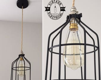The Colby Black Cage industrial ceiling light edison lamp vintage twisted cable