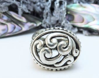 Sterling Silver Ring Scroll Dome /Size 6