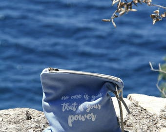Canvas Travel Clutch Zipper Pouch Summer Bag Screen Printed Inspirational Quote