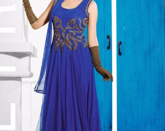 Indian Designer Blue Colored Faux Georgette Salwar Suit Anarkali heavy  Zari embroidered Suit Dress Sleevless