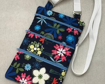 Handmade/Cotton/Blue/Floral/Crossbody/Shoulder Bag